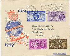 2414 1949 Universal Postal Union (UPU) 75th Anniversary fine FDC WORTHING SUSSEX