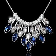 azul y Blanco Cristal Charms bañado en Plata Collar de tendencia