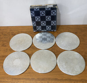 Strachan Silverplate Round Placemats Set Of 6 With Box 20cm Diameter