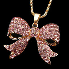 Gold Plated Pink Crystal Rhinestone Bowknot Pendant Long Sweater Necklace