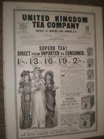 United Kingdom Tea Company art advert June 1893 ref AT