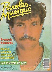 Magazine Paroles et Musique # 72 francis cabrel lalanne basia elvis presley