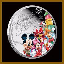 Disney $1 Dollar Silver 1/2 oz Coin Proof 2015 Seasonal Greetings Mickey Friends