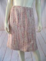 Nine & Co Skirt 10 Pink Tan White Acrylic Cotton Blend Bulky Fuzzy Weave Retro