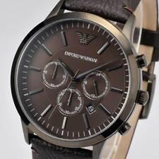New EMPORIO ARMANI Mens Watch SPORTIVO Chronograph Brown Leather Black AR2462
