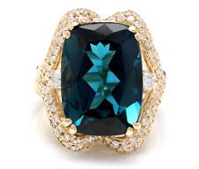 19.10 Carats Natural LONDON BLUE TOPAZ and Diamond 14K Yellow Gold Ring