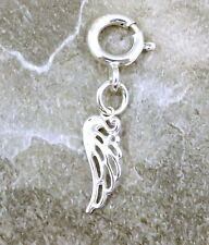Sterling Silver Angel Wing Charm with Spring Ring-Fits Most Charm Bracelets-1156