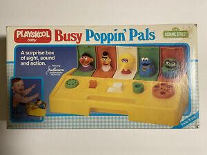 Vintage 1980's Playskool Baby Busy Poppin' Pals Pop Up Toy Sesame Street W/ Box