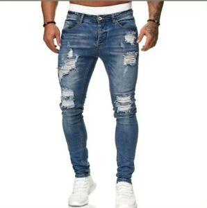 Jeans uomo Strappati Slim Fit Pantaloni Uomo Aderenti Elastici strappi denim Blu