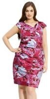 Suzi Chin for Maggy Boutique Print Sheath Dress pink purple  plus size 18W b11