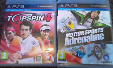 PLAYSTATION 3 MOVE GAMES 'MOTION SPORTS ADRENALINE & TOPSPIN 4 2K SPORTS' VGC!