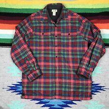 L.L. Bean Mens Fleece Lined Flannel Plaid Warm 100% Cotton Shirt Jacket M Reg.