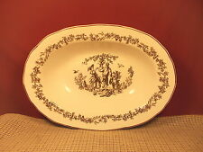 """Tabletops Unlimted New England Toile Brown Large Oval Serving Bowl 13 7/8"""" x10"""""""