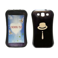 CASE FOR SAMSUNG GALAXY S3 BLACK WITH CREAM HAT AND TIE PRINT GEL HARD COVER