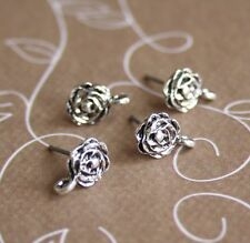 AntiqueSilver Rose Earrings Studs Component - 10 pcs