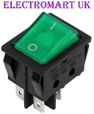 DPST ILLUMINATED NEON GREEN ROCKER SWITCH ON OFF 16 AMP 240 VOLT AC