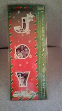 Joy  Christmas Word Collage Magnetic Picture Frame  Hold 3 pictures Card