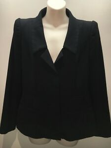 Willow (Kit Willow) Black Wool Blend Tailored Jacket Blazer Size 12 Fit 10 12