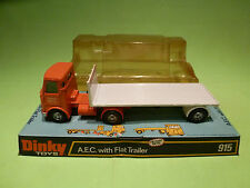 DINKY TOYS 915 AEC WITH FLAT TRAILER - TRUCK HIRE Co- RARE SELTEN - GOOD  IN BOX
