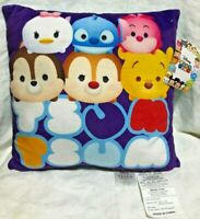 "Disney Tsum Tsum 12"" x 12"" Square Soft Decorative Pillow New"