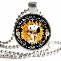 SNOOPY Fall Sunflower Necklace Silver Be A Sunflower Quote Silver Charm Pendant