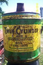 VINTAGE ANTIQUE 5 gal oil can,a TWIN CYLINDER transmasion