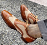 Handmade Tan Beige Brown Shoes Spectator Dress Luxury formal  Shoes For Men