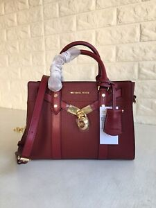 🛍Michael Kors -100% Nouveau Hamilton Small Pebbled Leather Brandy -New + Tags🛍