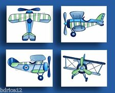 VINTAGE AIRPLANES LITTLE PLANES BEDDING KIDS BABY boys WALL ART DECOR NURSERY