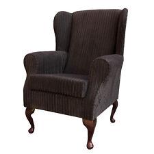 Chocolate Jumbo Cord Fabric Wing Back Orthopaedic Fireside Chair - NEW