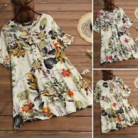 ZANZEA 8-24 Women Floral Top Tee T Shirt Button Up Printed Short Sleeve Blouse