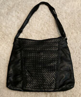 MARC FISHER Black Embossed Faux Leather Satchel Bag Purse w/ Adjustable Strap
