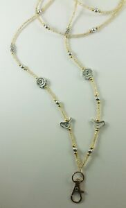 Mix GOLD & SILVER ID Badge Holder Tag HANDMADE Beaded Lanyard Fashion Necklace