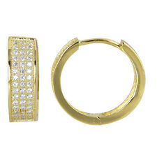 Diamonique CZ Micro Pave Huggie Hoop Earrings 14K Yellow Gold Clad Real Silver