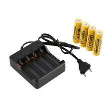4x 18650 3.7V 9800mAh Li-ion Rechargeable Battery+EU Smart Charger Indicator LE