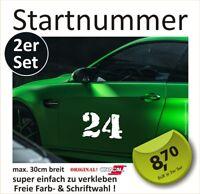 Startnummer Aufkleber Auto Motorrad Startnummern FREIE FARB- & SCHRIFTWAHL #1