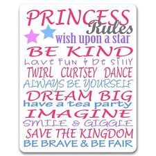 Princess Rules - Bedroom Door or Wall Metal Sign / Plaque