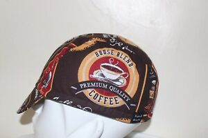 CYCLING CAP COFFE TIME  100% COTTON HANDMADE IN USA   ANY SIZE