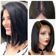 Brazilian Remy Human Hair Lace Front Wig Short Straight Bob Full Wigs Black Wigs