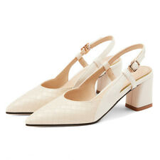 Slingback Shoes Block Heels Pointed Toe Party  Elegant Heeled Shoes Silver