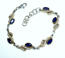 Iolith Wassersaphir Bergkristall Armband 925 Silber teilvergoldetes UNIKAT neu