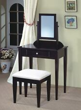 Contemporary Cappuccino Finish Vanity and Stool w/ Fabric Seat by Coaster 300079
