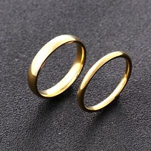Fashion Luxury Golden Engagement Wedding Ring Simple Fashion Style Fine Jewelry
