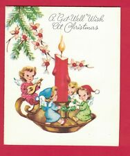 0218C VTG GET WELL WISH XMAS CARD LITTLE ANGLES WRAP BRANCH AROUND LIT CANDLE