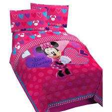 NEW disney minnie mouse FULL Microfiber comforter pink LOVE MINNIE