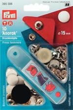 10 Anorak Druckknöpfe nähfrei 15 mm wei�Ÿ Prym 390306 Druckknopf mit Werkzeug