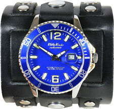 Black Leather Cuff Watch With Studs -Blue Dial Military Diver - Genuine Leather