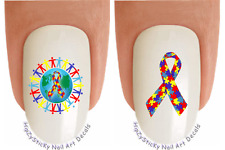 "Nail Decals #6503 ""Autism Awareness World Ribbon"" Waterslide Nail Art Transfers"