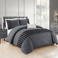 Grey Wrinkled Duvet Cover Bedding Set With Pillow Cases King Size Quilt Covers
