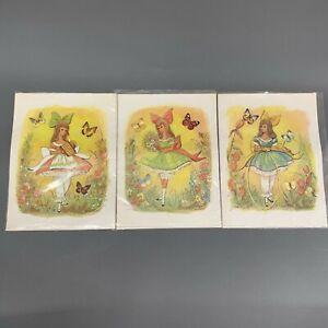 Vtg Scafa Tornabene Art M Hartnett 1971 Girl in Dress Butterflies Litho Lot of 3